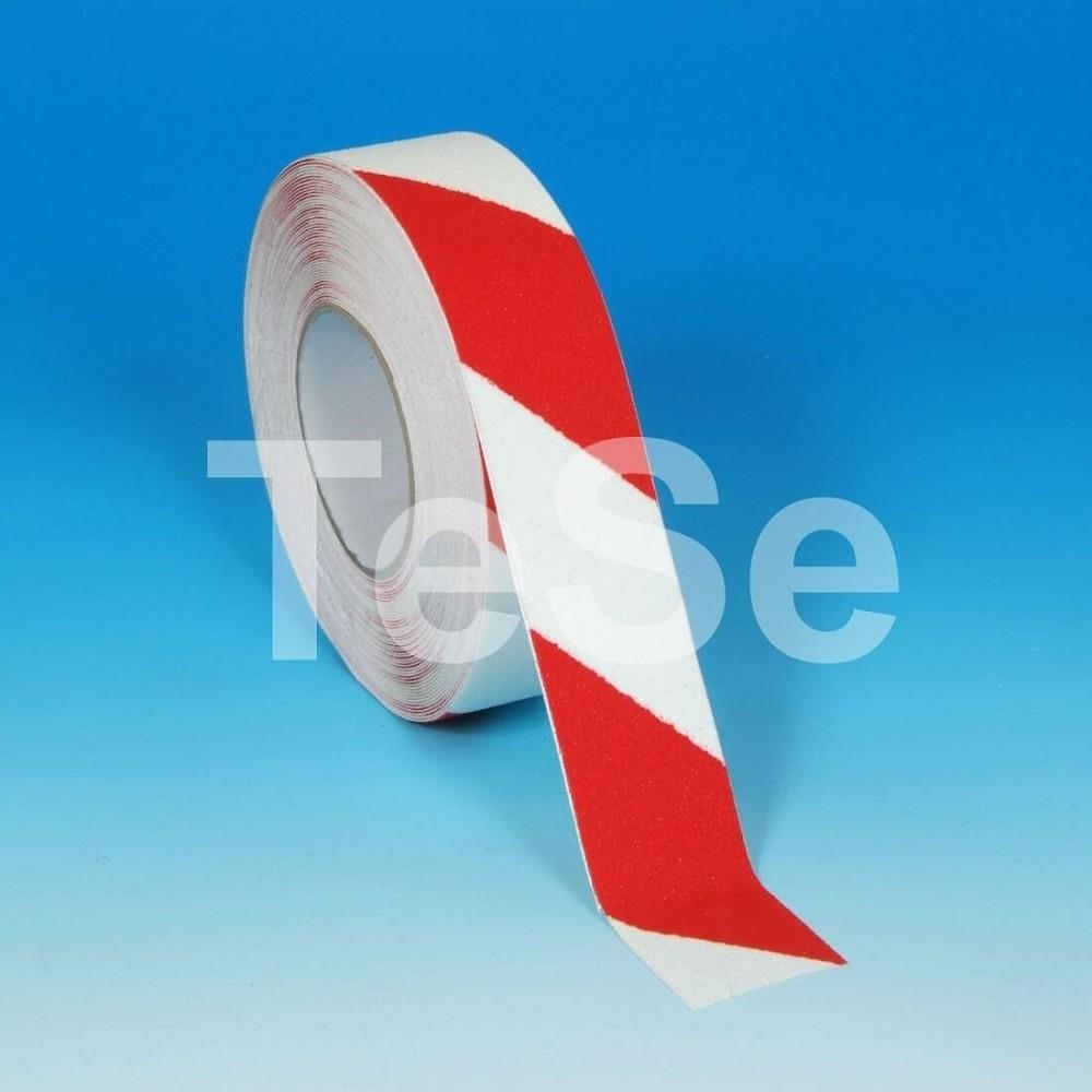Protišmyková páska štandardné zrno výstražná červeno / biela